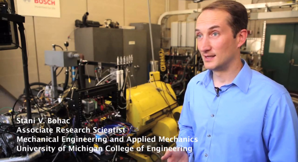 Research Scientist Stani Bohac, pictured in the University of Michigan Lay Automotive Lab, where he works to improve the fuel economy of internal combustion engines.